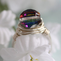 Aurora Borealis Ring, Statement Ring, Cocktail Ring, Novelty Ring, Wire Wrapped Ring, Birthday Gift, Anniversary, Bridal Jewelry, Trendy
