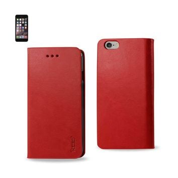 New Flip Folio Case With Card Holder In Red For iPhone 6 Plus By Reiko