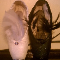 Hand made Swan Lake: White Swan/Black Swan Decorated Pointe Shoes