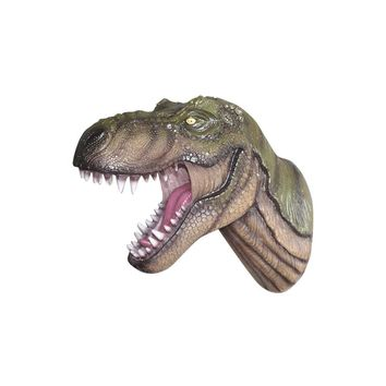 The Jurassic | Large T Rex Dinosaur Head | Faux Taxidermy | Realistic Green Resin