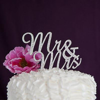 Mr & Mrs Cursive Cake Topper - Silver
