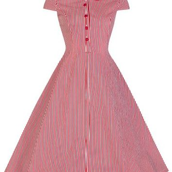 Lindy Bop 'Wendy' Vintage 1950's Candy Stripe Peter Pan Collar Shirt Dress (XL, Red & White Stripe)