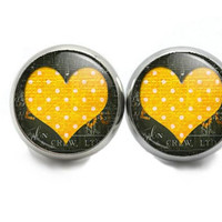 Heart Stud Earrings, Small  Yellow Heart Earrings, Jewelry For Valentines Day