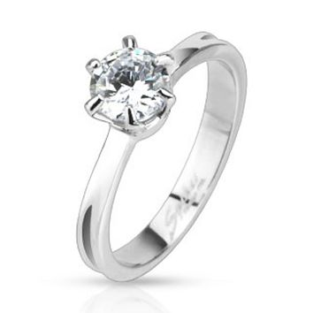 Classic Prong Set CZ Solitaire Band Ring Stainless Steel
