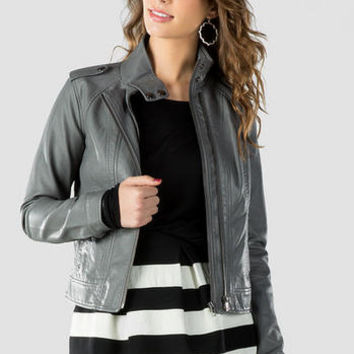 QUINN VEGAN LEATHER MOTO JACKET