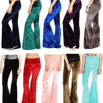 Velvet Bell Bottoms Fold Down Waistband