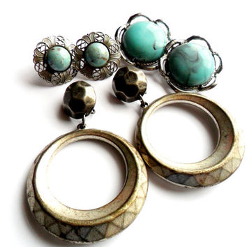 Silver Turquoise Clip Earrings Lot Vintage Art Glass Plastic Cabochon Dangle Hoop Big Bold Destash Screw Back