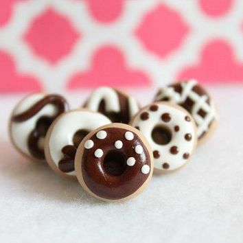 Cute Donut Push Pins   Set Of 6 Decorative Chocolate Donut Push Pins