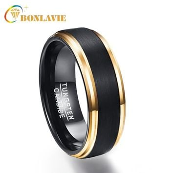 BONLAVIE Classic Electroplated Black Gold Tungsten Steel Ring for Men Wedding Engagement Male Jewelry Men's Gift Jewelry