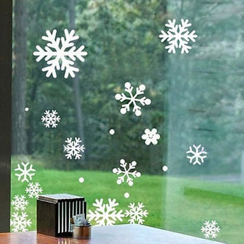 Christmas Window Snow Flake Stickers Xmas Winter Decorations HU