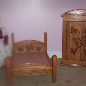 Handcrafted oak doll bed and wardrobe made for 18 in American Girl size doll  butterflies headboard