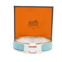 Auth HERMES Click Crack PM Light Blue Silver Tone Brass Bangle Bracelet #S109036