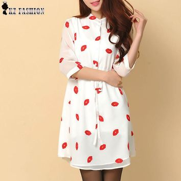 Vestidos Femininos  Autumn Cute Red Lips Print Stand Collar lined Dresses Women Chiffon Dress with Sashes Plus Size S-4XL