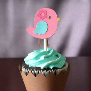 Pink Tweet Cupcake Topper and Wrapper  - Set of 8