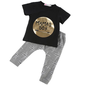 Toddler Baby Infant Mamas Boys Clothes Sets Cute Fashion T-Shirts Tops Pants Summer 2Pcs Outfit Sets Newborn 3 6 9 12 18 24M