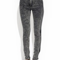 Perforated Stride Acid Wash Jeans