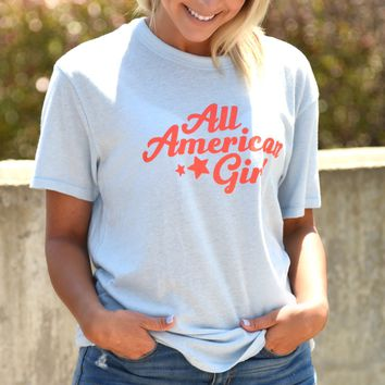 All American Girl Tee - Light Blue