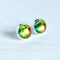 lil rainbows 10mm cabochon stud earrings, post, silver, sparkle, color, prism, suncatcher