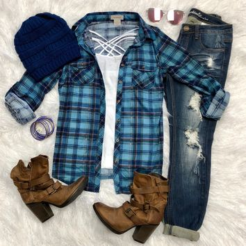 Penny Plaid Flannel Top: Blue/Royal