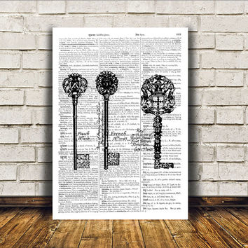 Skeleton keys art Steampunk print Antique poster Victorian decor RTA266