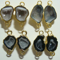 Geode Connectors, Geode Halves, Natural Mexican Tobasco Agate Half Geode Pair, 20-24mm, 24K Gold Electroplated, n11-1