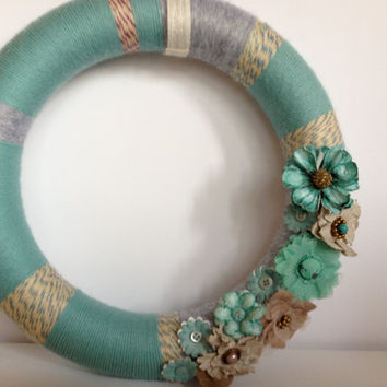 Summer Turquoise and Cream Yarn Wreath with Teal and Tan Paper and Fabric Flowers - 12 inches