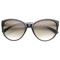 Women's Elegant Metal Chain Temple Cat Eye Sunglasses A015