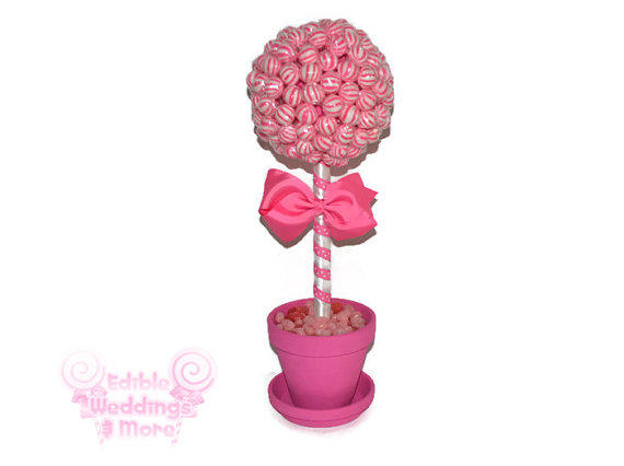Pink lollipop topiary candy from edible weddings more