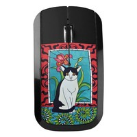 Pretty Tuxedo Kitty with Flowers Wireless Mouse
