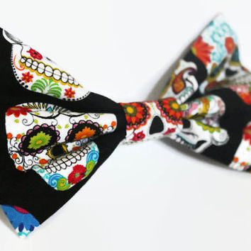 Sugar Skull Hair Bow Clip - Womens Hair Accessories - Day of the Dead, Halloween - Black, Colorful - Rockabilly