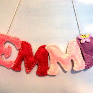 Name banner felt, girl, Felt letter, Alphabet Letters, custom name banner, Nursery Name Banner, hanging decor, name garland, personalized