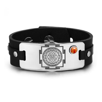 Sri Yantra Chakra Magical Energy Amulet Red Jasper Gemstone Adjustable Leather Bracelet