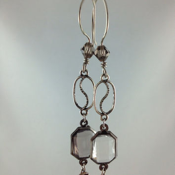 mismatched crystal dangle earrings homemade pewter hooks