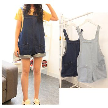 Jumpsuits Monos For Women Jumpsuit Women 2017 Shorts Girl Washed Loose Flanging Jeans Denim Casual Romper Overall Overalls 365