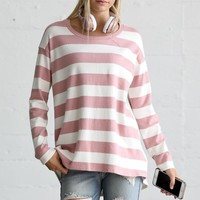 Wonderland's Long sleeve rear contrast with stripe casual top