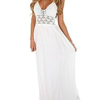 Women's Beach Dress Crochet Backless Bohemian Halter Maxi Long Dress