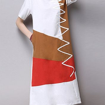 Casual Color Block Cotton/Linen Shift Dress