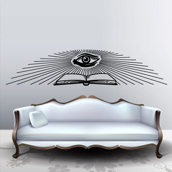 Wall vinyl sticker decals decor art bedroom all seeing eye annuit coeptis illuminati god triangle providence book (m788)