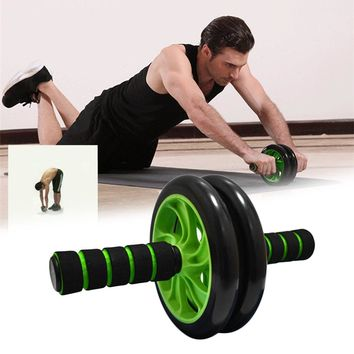 REIZ Double-wheeled AB Abdominal Waist Workout Exercise Gym Fitness Practical Muscle Wheel Roller Wheels and Knee Pad Equipment