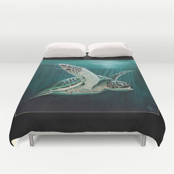 """""""Moonlit"""" - Green Sea Turtle, Acrylic Duvet Cover by Amber Marine"""