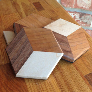 Handmade all natural wood coasters - set of 4 - 4x4 - 3D - Optical Illusion
