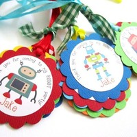 Robot Favor Tags for Boys Birthday or Baby Shower Party