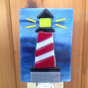 Handmade fused glass lighthouse nightlight night light on a swivel base