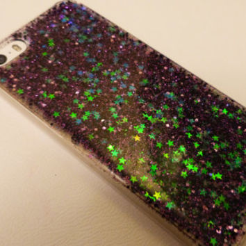 Lovejoy Comet Silver holographic stars with black and purple glitter iPhone 6+, 6, 5s, 5c, 5, 4s, 4 phone case Samsung S5, S4, S3 phone case