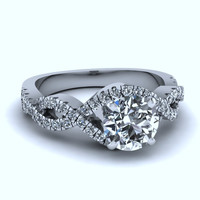 0.93ct F-SI1 18kt White Gold Halo Round Diamond Engagement JEWELFORME BLUE