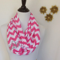 Monogrammed Pink and white chevron Infinity scarf, chevron Infinity scarf, zigzag scarf, infinity scarf, monogrammed gift