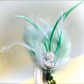 SaleMint Feather and Cameo head piece on a headband by TutusChic