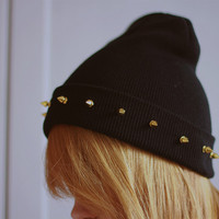 Studded spiked BEANIE Black