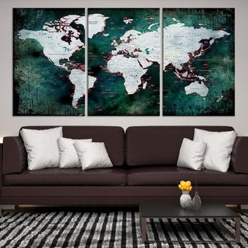 47293 - Grunge Large World Map Canvas Print, World Map Wall Art, Wall Art World Map Canvas Print, World Map Push Pin, World Travel Map
