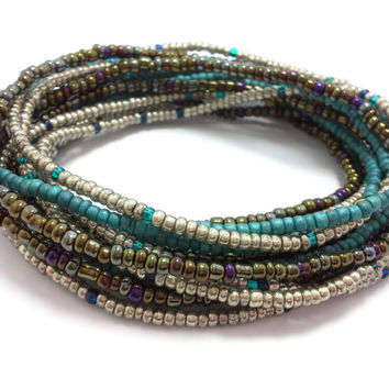 Seed bead wrap stretch bracelets, stacking, beaded, boho anklet, bohemian, stretchy stackable multi strand, silver teal blue brown purple